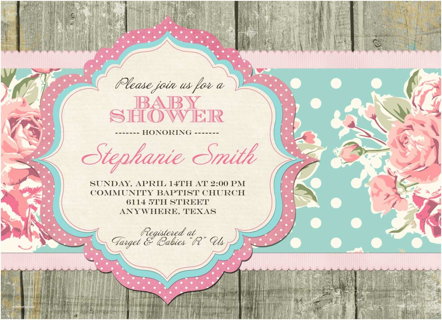 Shabby Chic Baby Shower Invitations Template Shabby Chic Baby Shower Invitations