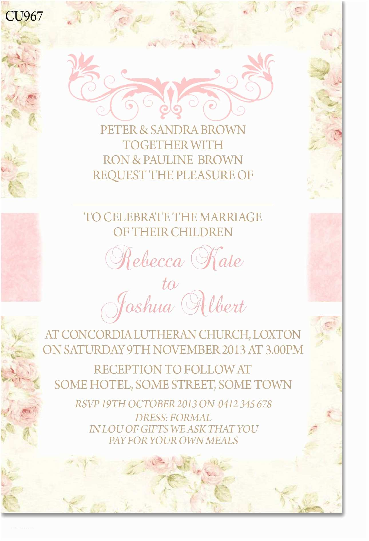 Shabby Chic Wedding Invitations Cu967 Shabby Chic Wedding Invitation