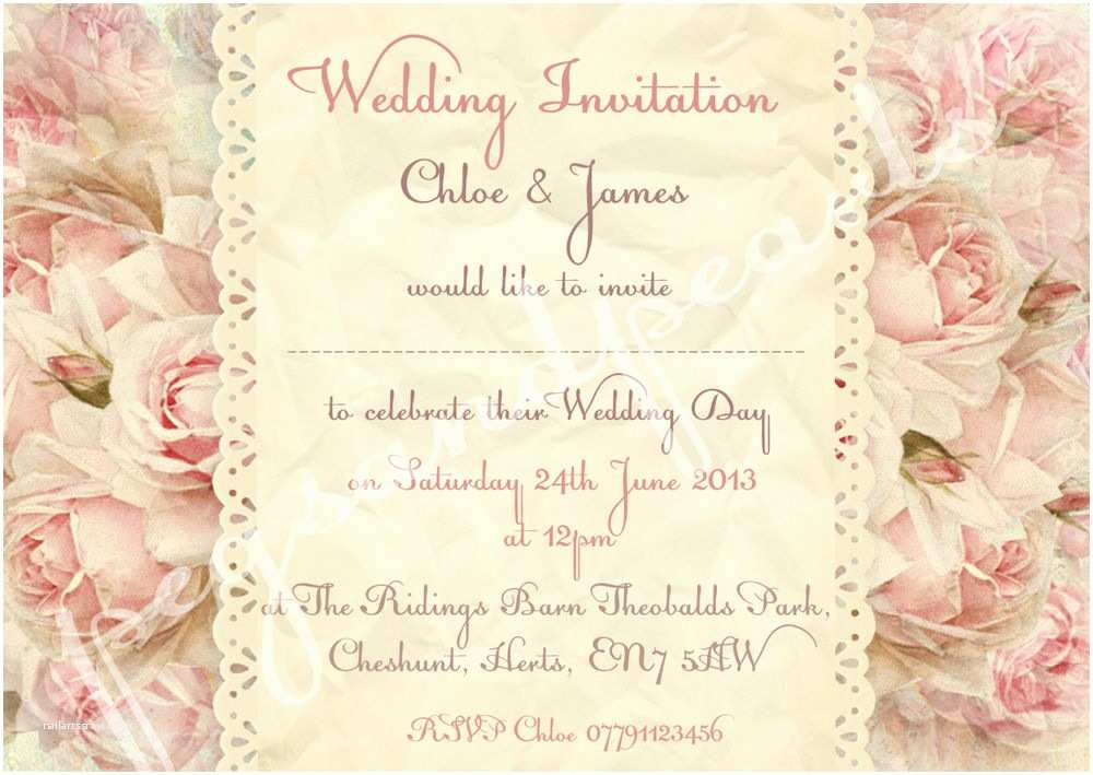 Shabby Chic Wedding Invitations Personalised Shabby Chic Vintage Floral Wedding