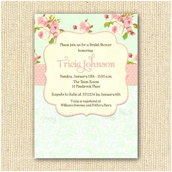Shabby Chic Wedding Invitations Shabby Chic Bridal Shower Invitations Printable by