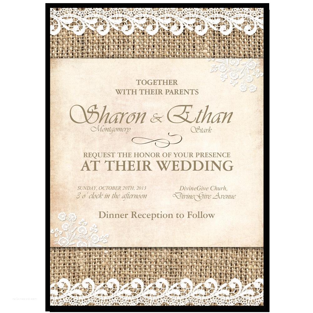 Shabby Chic Wedding Invitations Shabby Chic Wedding Invitation Burlap Lace – Printable