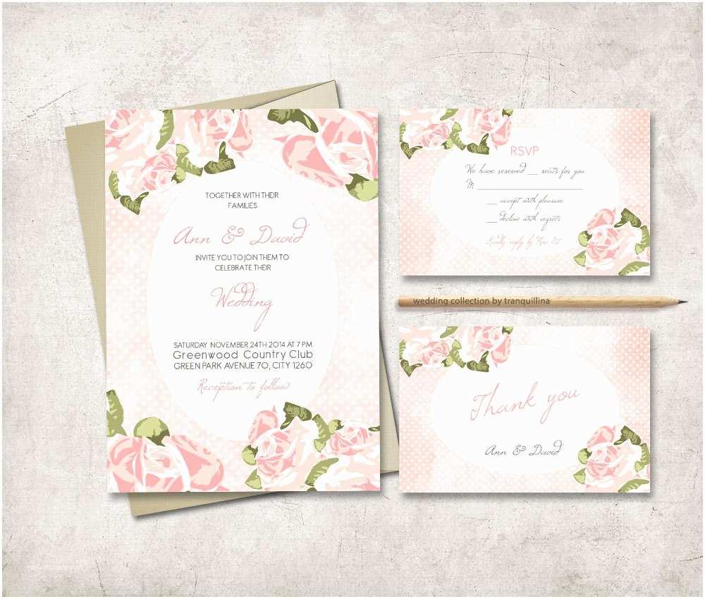 Shabby Chic Wedding Invitations Shabby Chic Wedding Invitation Printable Pink by Tranquillina
