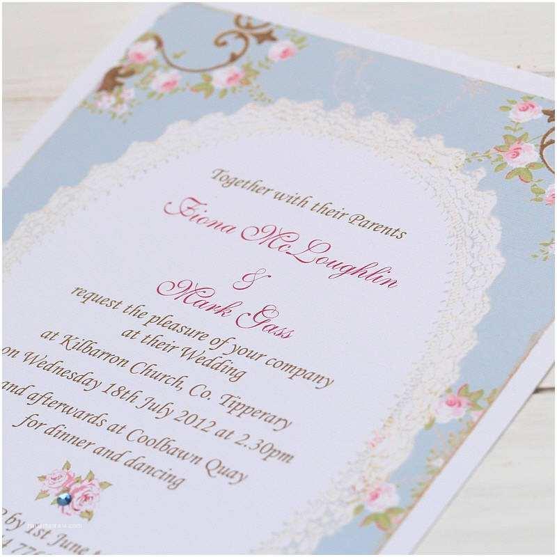 Shabby Chic Wedding Invitations Vintage Rose Frame Wedding Invitations by Beautiful Day