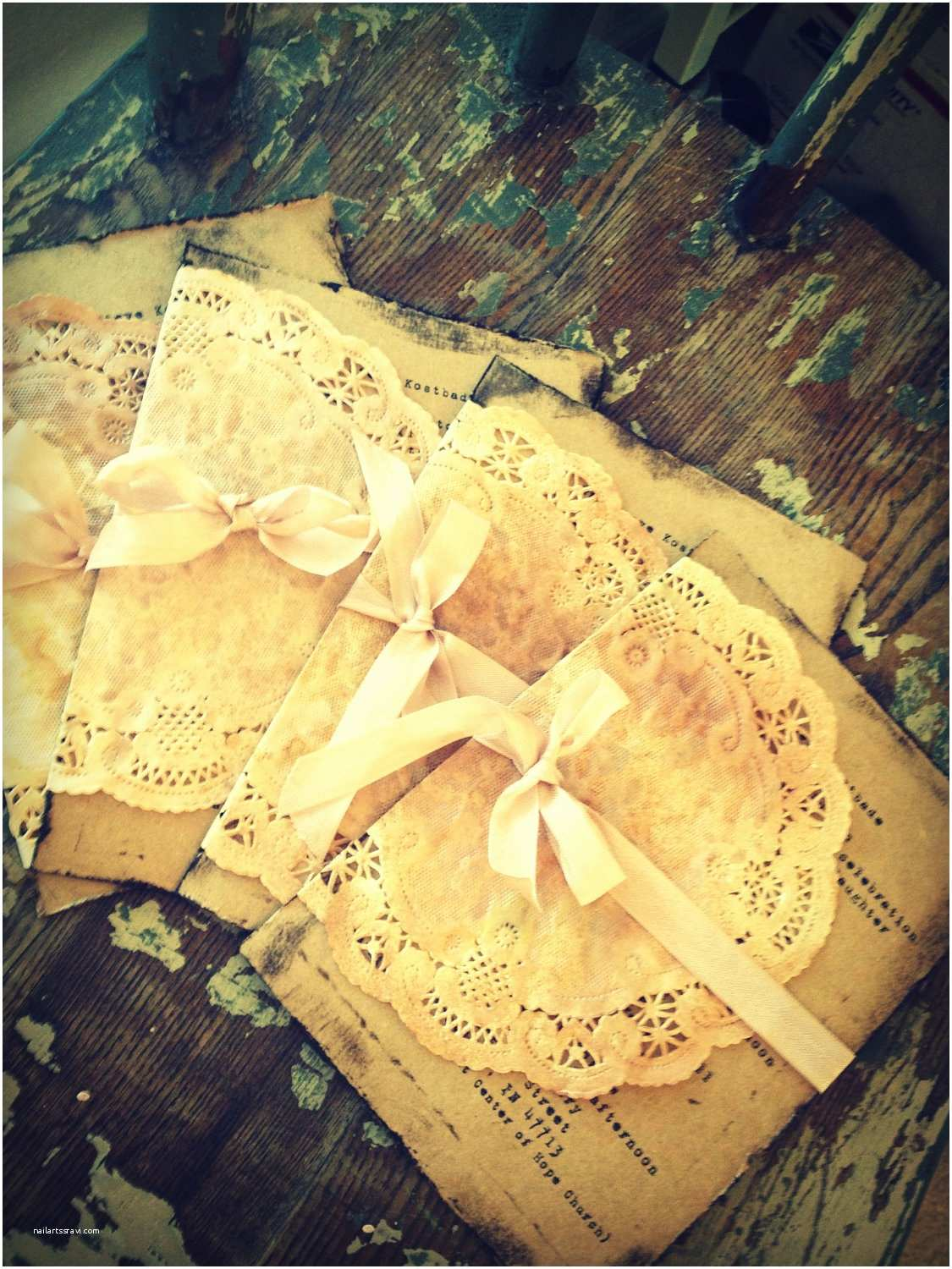 Shabby Chic Wedding Invitations Wedding Invitation Handmade Hand Stamped Shabby Chic