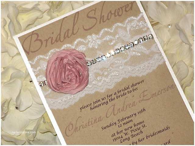 Shabby Chic Wedding Shower Invitations Bridal Shower Invitation Abby Chic