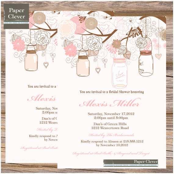 Shabby Chic Wedding Shower Invitations Bridal Shower Invitation Pink Shabby Chic Mason by Paperclever