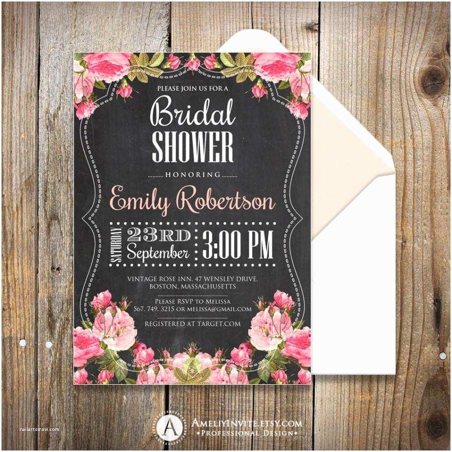 Shabby Chic Wedding Shower Invitations Bridal Shower Invites Printable Chalkboard Bridal Shower