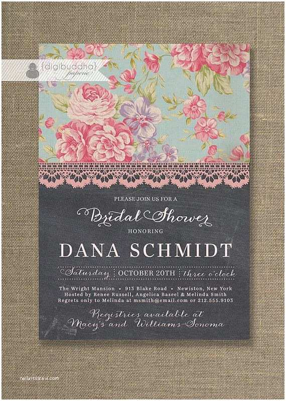 Shabby Chic Wedding Shower Invitations Chalkboard Lace Bridal Shower Invitation Shabby Chic