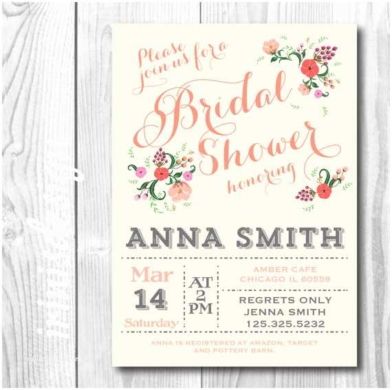 Shabby Chic Wedding Shower Invitations Peach Blossom Coral Pastel Country Shabby Chic Bridal