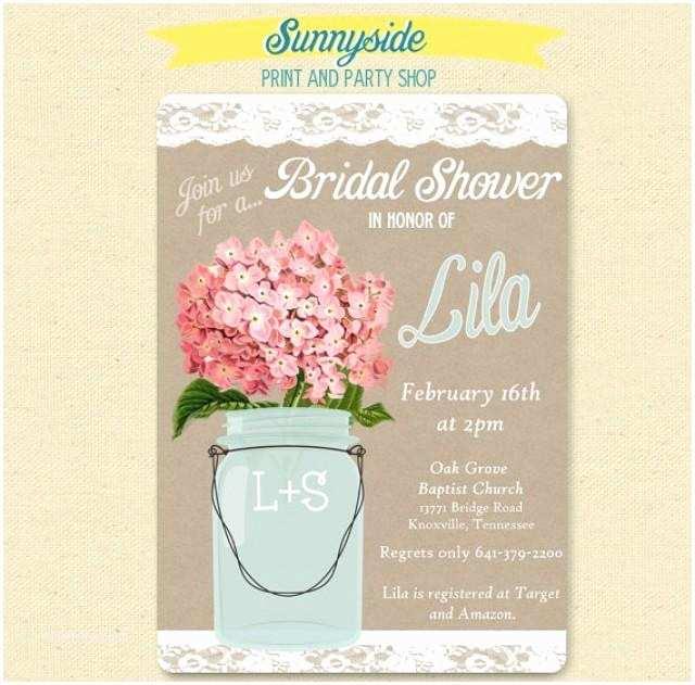Shabby Chic Wedding Shower Invitations Pink Hydrangea Lace Mason Jar Invitation Bridal