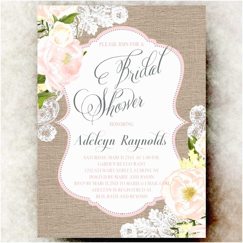 Shabby Chic Wedding Shower Invitations Printable Wedding Invitations by Divine Charm Digital