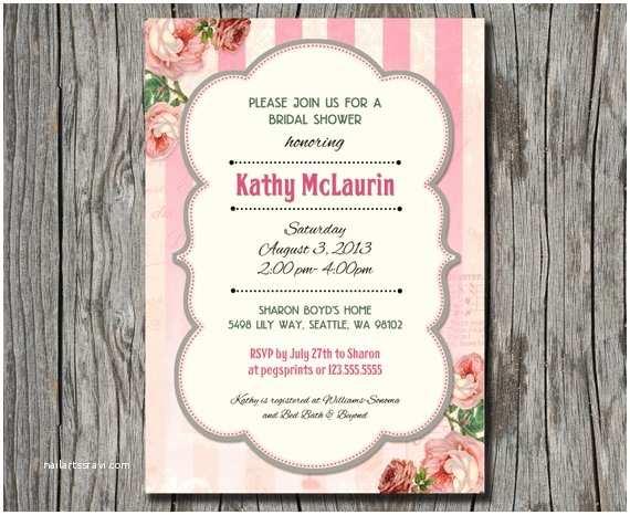 Shabby Chic Wedding Shower Invitations Shabby Chic Invitation Garden theme Bridal Shower by
