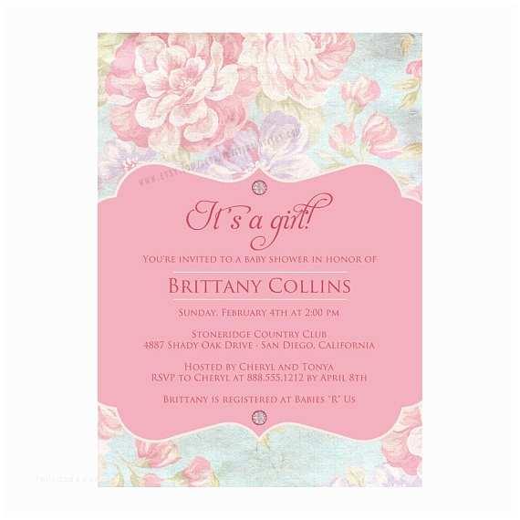 Shabby Chic Wedding Shower Invitations Shabby Chic Vintage Bridal Baby Shower Invitation Printable