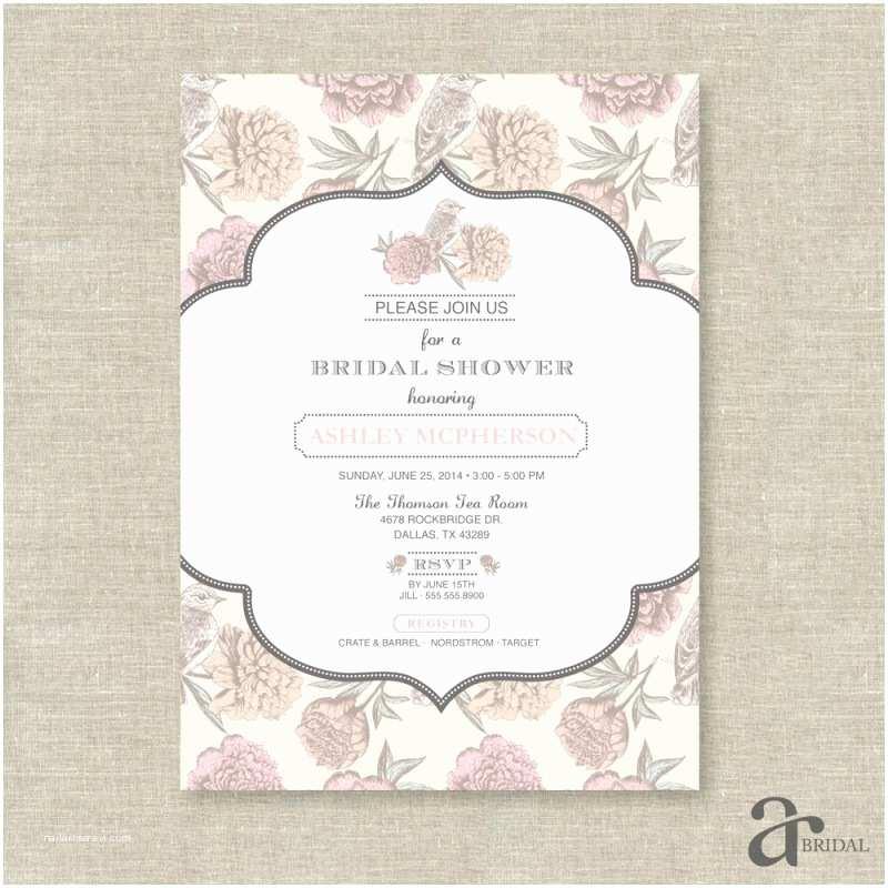 Shabby Chic Wedding Shower Invitations Vintage Shabby Chic Floral Bird Bridal Shower Printable