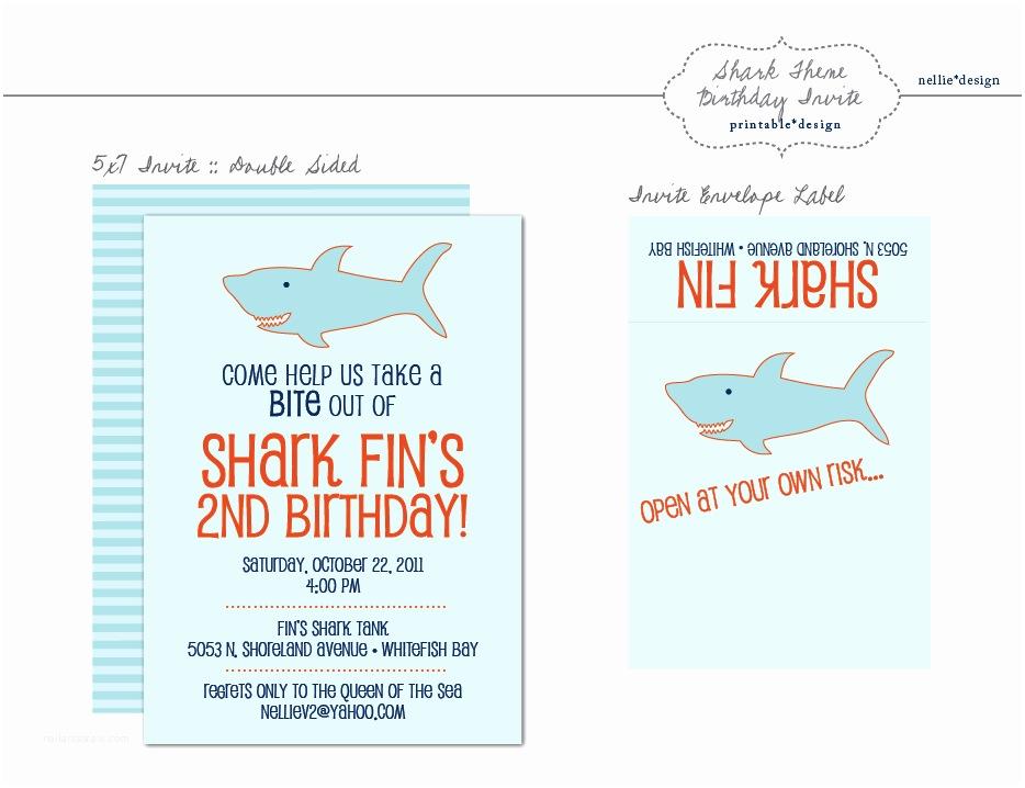 Shark Birthday Invitations Nellie Design Fridays with Fin Shark Birthday Party
