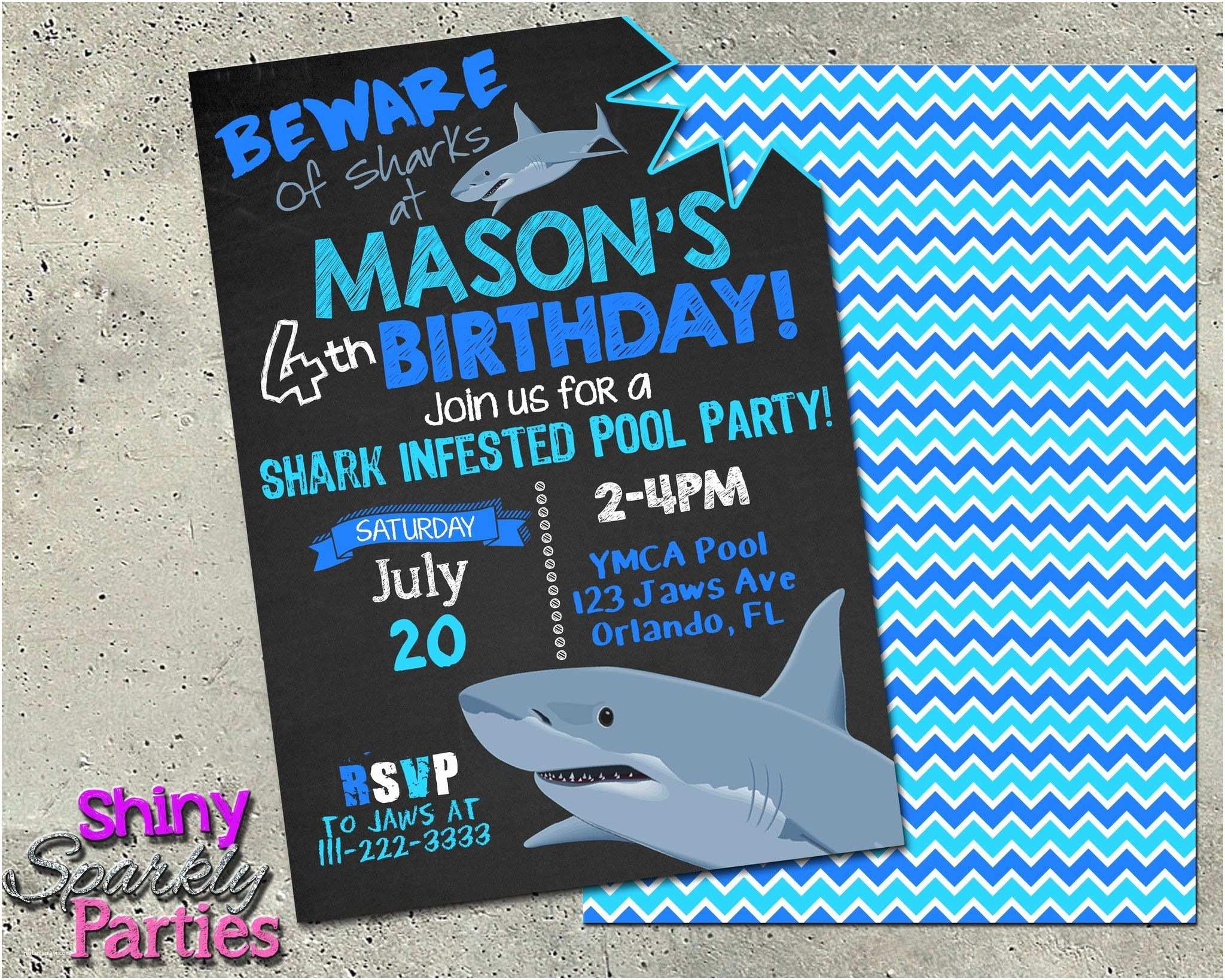 Shark Birthday Invitations Printable Shark Pool Party Invitation Digital File Ly