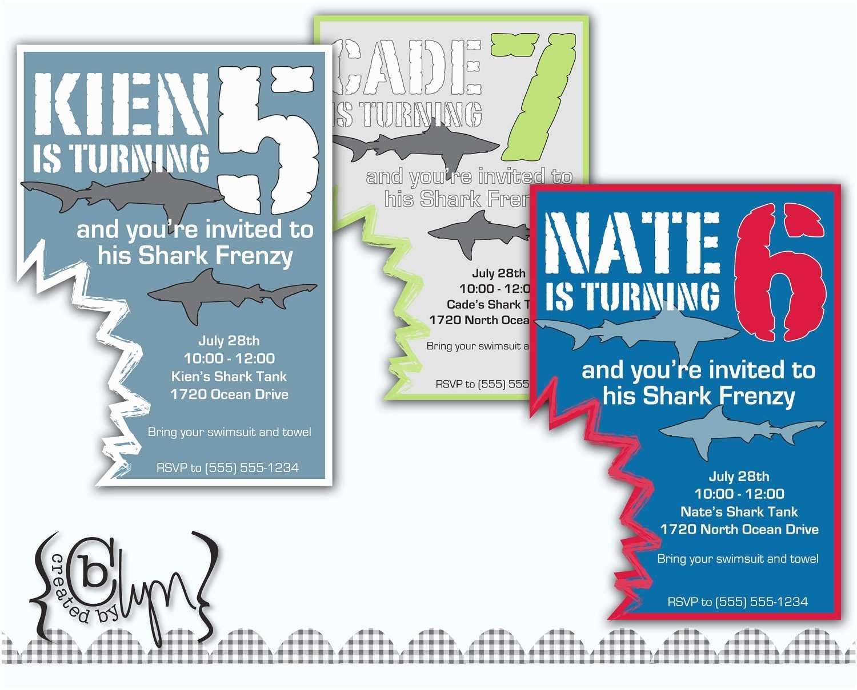 Shark Birthday Invitations Shark attack Birthday Party Invitation with Shark by