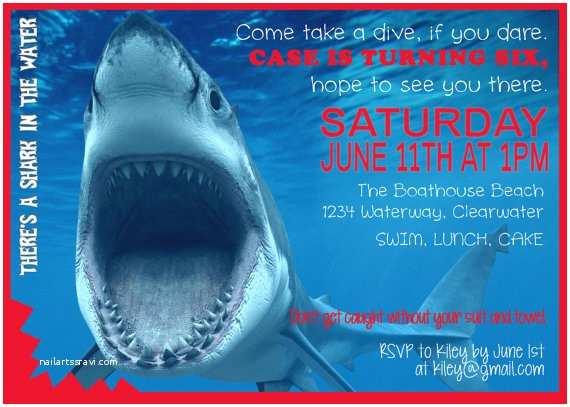 Shark Birthday Invitations Shark Birthday Digital Printable Invitations by