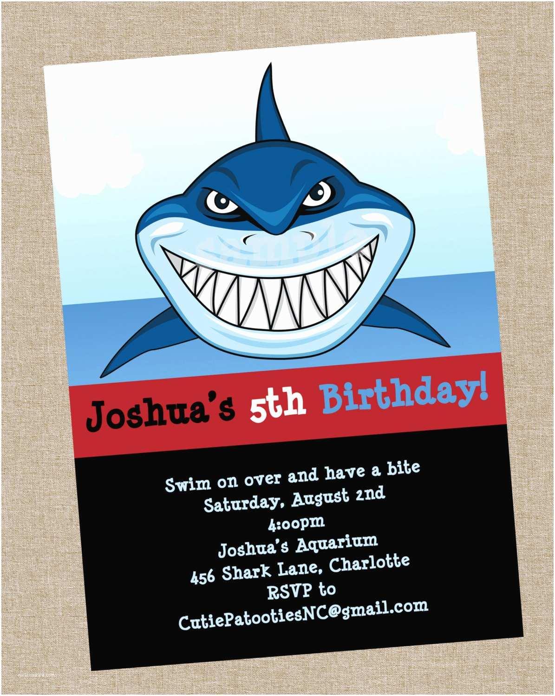 Shark Birthday Invitations Shark Birthday Invitation Printable or Printed Shark Party