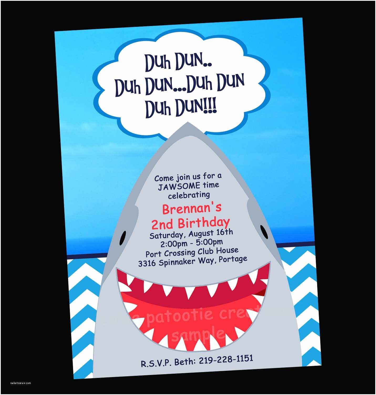 Shark Birthday Invitations Shark Birthday Invitation Printable Party Invite by