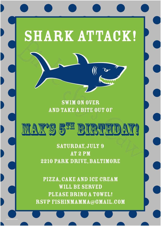 Shark Birthday Party Invitations Shark attack Invitation Birthday Baby Shower Engagement