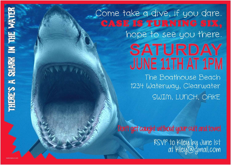 Shark Birthday Party Invitations Digital Printable By