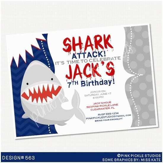 Shark Birthday Party Invitations Shark Birthday Invitation or Thank You Card Custom