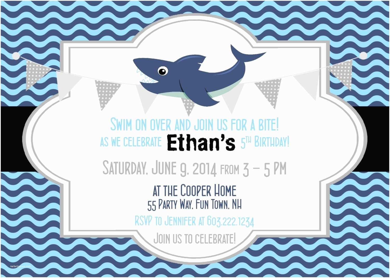 Shark Birthday Party Invitations Shark Birthday Invitation Shark Party Invitation Shark