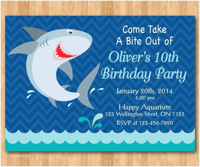 Shark Birthday Party Invitations Shark Birthday Invitation Shark theme Birthday Party Invite