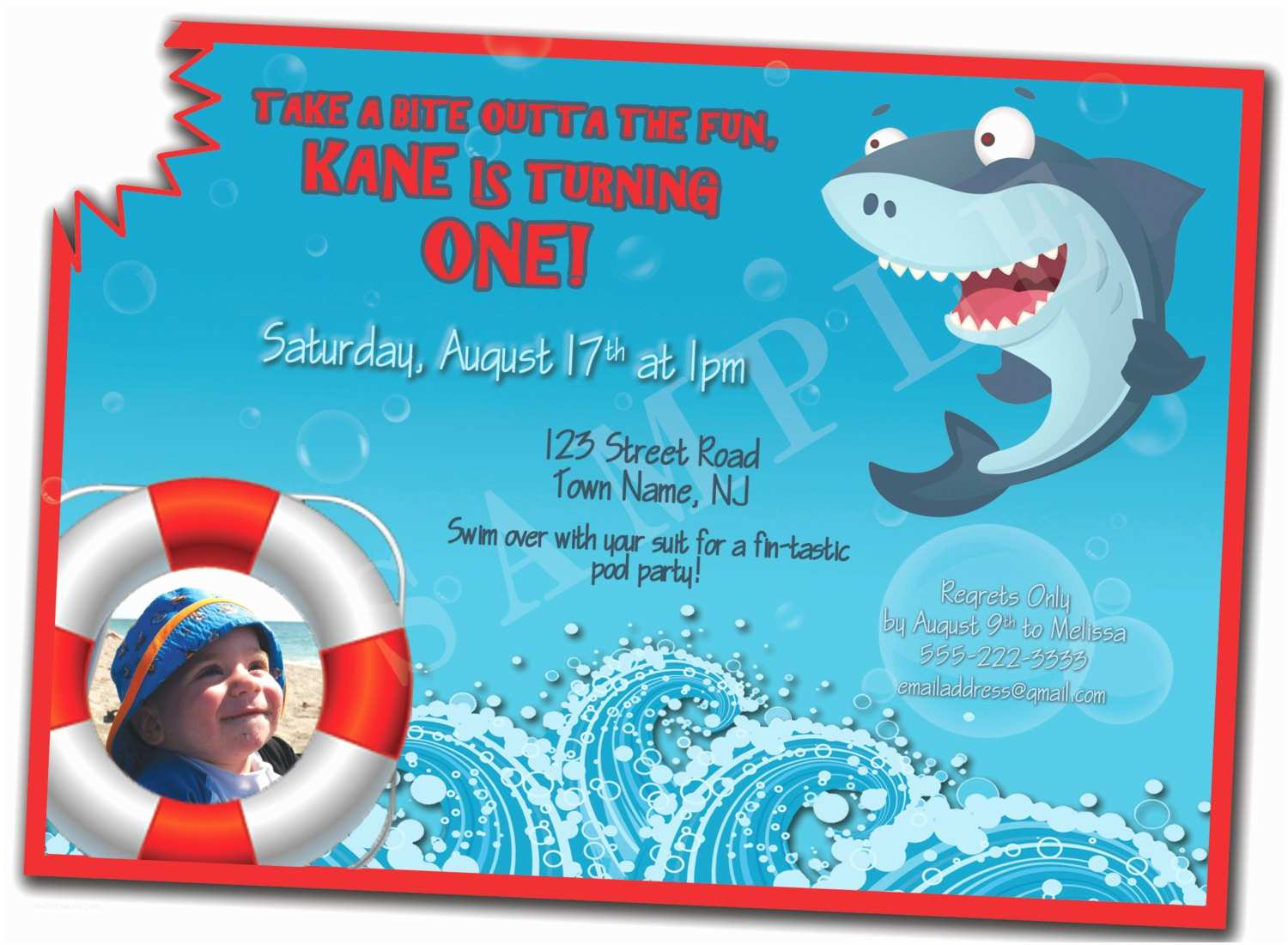Shark Birthday Party Invitations Shark Bite 1st Birthday Invitation by Kenziekanedesigns On
