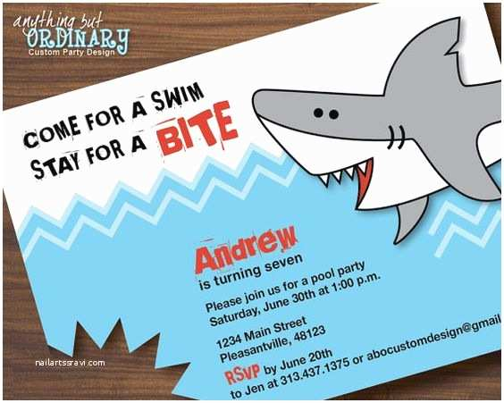 Shark Birthday Party Invitations Shark Bites Sharks and Birthday Invitations On Pinterest