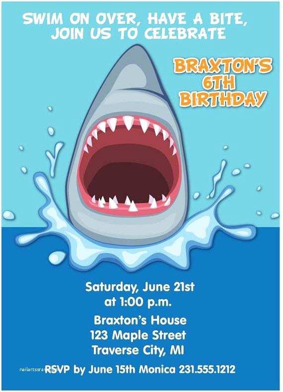 Shark Birthday Party Invitations Shark Invitation Boys Shark Party Invite by