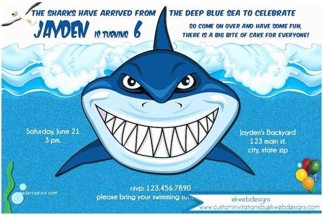 Shark Birthday Party Invitations Shark Party Invitations