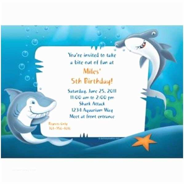 Shark Birthday Party Invitations Sharks Invitation Custom Invitations & Party Supplies
