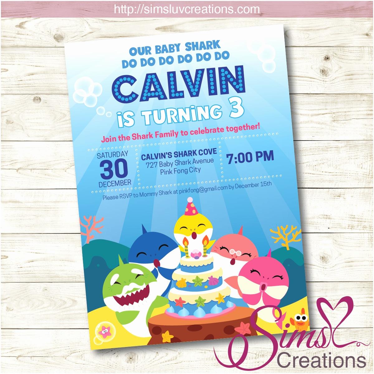 Shark Party Invitations Baby Shark Birthday Printable Invitation