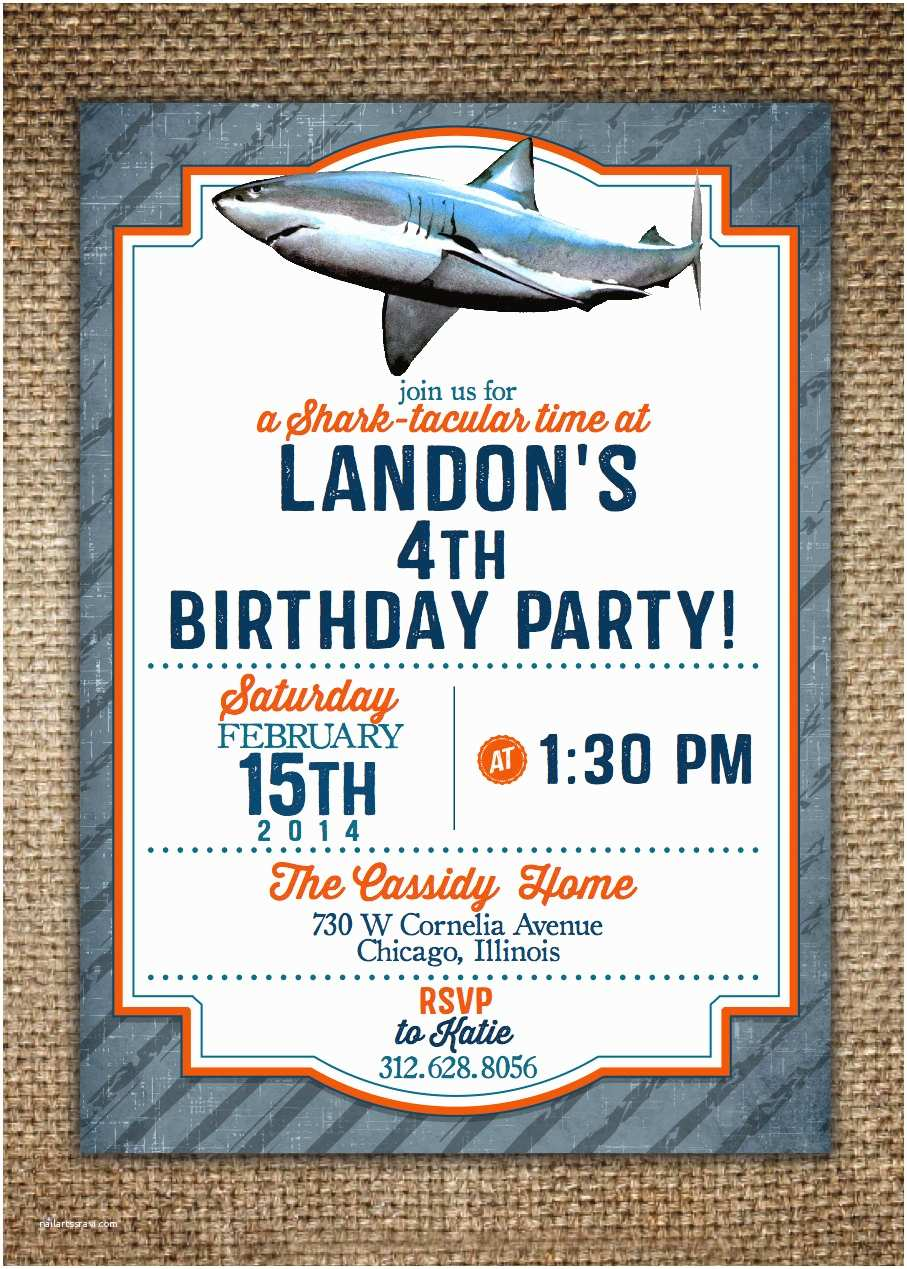 Shark Party Invitations Children S Birthday Invitation Shark theme