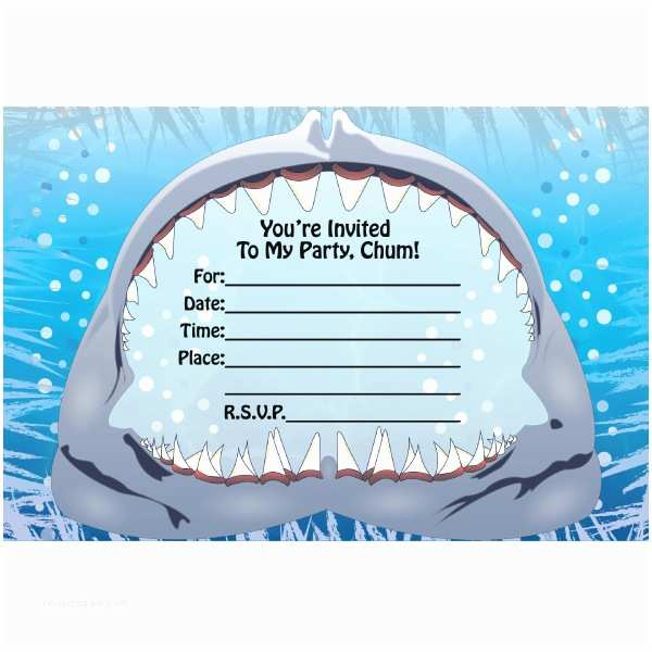 Shark Party Invitations Fill In Birthday Invitations Ideas – Bagvania Free