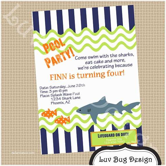 Shark Party Invitations Items Similar to Shark Pool Birthday Party Invitation