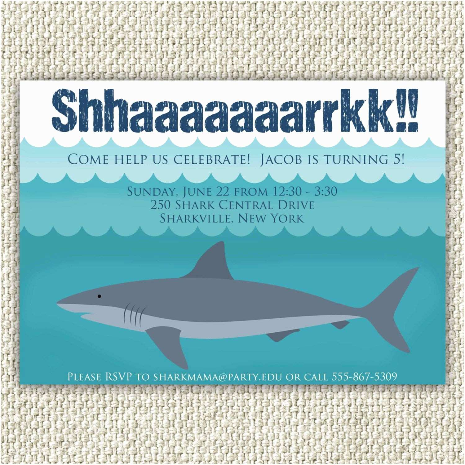 Shark Party Invitations Personalized Pool Party Birthday Party Invitation Shark