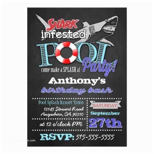 Shark Party Invitations Pool Party Shark Birthday Invitations