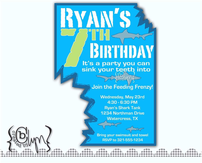 Shark Party Invitations Shark attack Birthday Party Invitation with Two Shark Bites