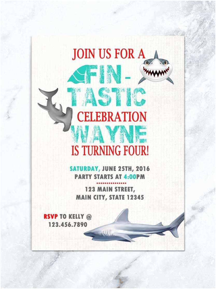 Shark Party Invitations Shark Birthday Invitation Shark Invite Fin Tastic Shark