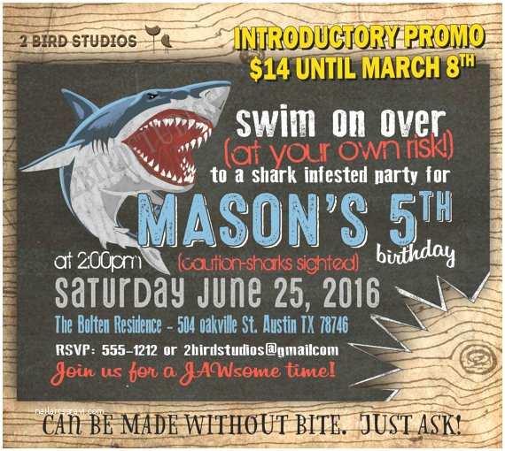 Shark Party Invitations Shark Birthday Invitations Shark Invitations Pool by
