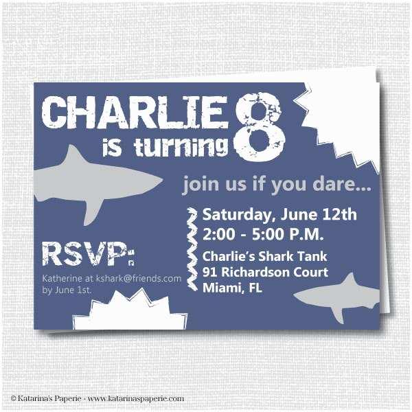 Shark Party Invitations Shark Birthday Party Invitation Shark attack by