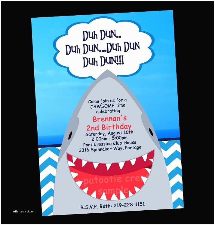Shark Party Invitations Shark Birthday Party Invitations