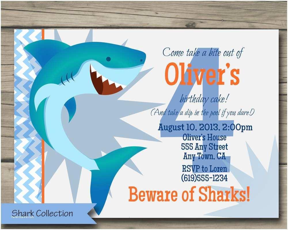 Shark Party Invitations Shark Bite Birthday Party Invitation Printable Shark Birthday
