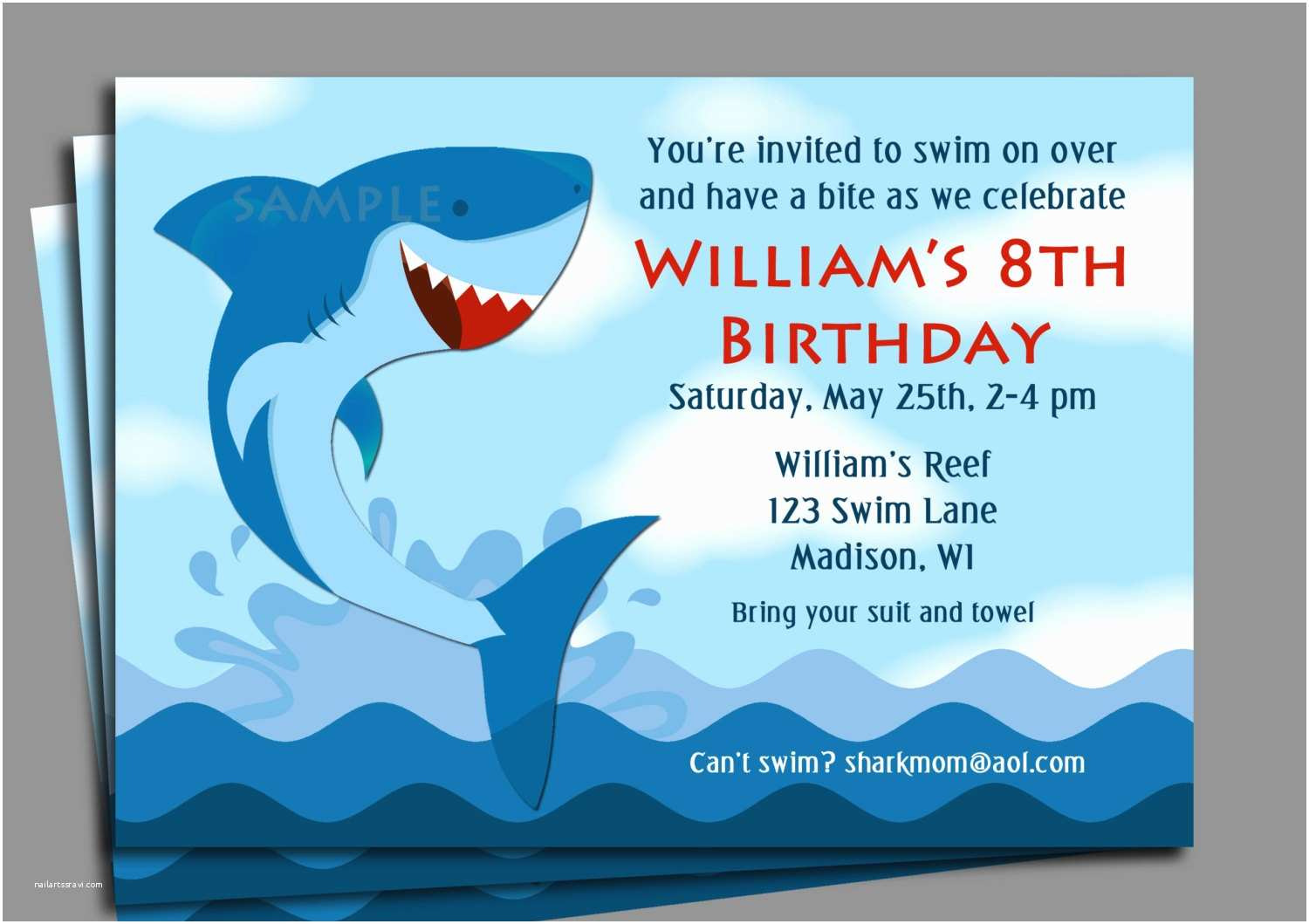 Shark Party Invitations Shark Invitation Printable or Printed with Free Shipping