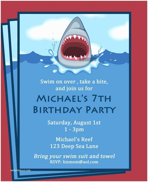 Shark Party Invitations Shark Invitation Printable Printable or Printed with Free