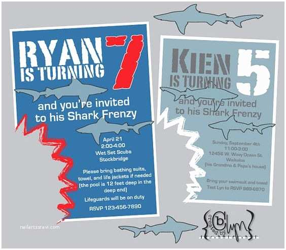 Shark Party Invitations Shark Invitations Gonna Try something Like This