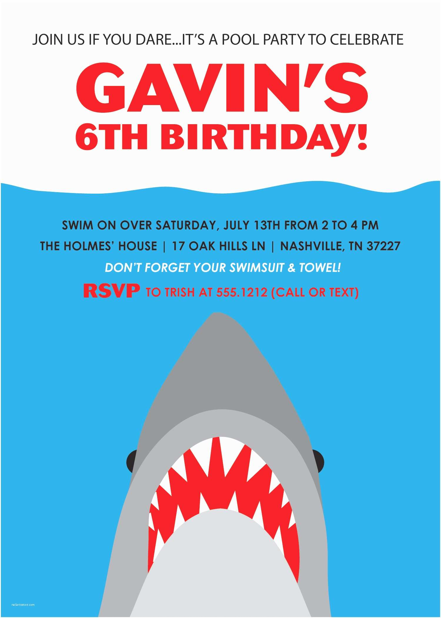Shark Party Invitations Shark Party Invitations